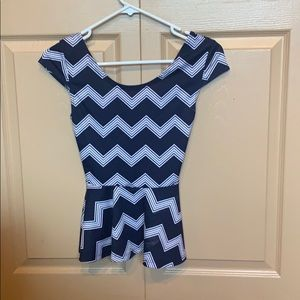 Small blue peplum with open back